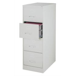 "WorkPro® 26-1/2""D Vertical 4-Drawer Legal-Size File Cabinet, Metal, Light Gray"