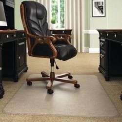 "Deflect-O Execumat Heavy-Duty Vinyl Chair Mat For High-Pile Carpets, 45"" x 53"", Clear"