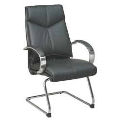 Office Star™ Deluxe Bonded Leather Mid-Back Chair, Black