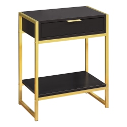 Monarch Specialties Side Accent Table With Shelf, Rectangular, Cappuccino/Gold