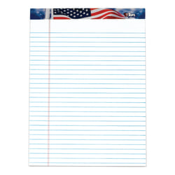 """TOPS® Perforated American Pride Writing Pads, 8 1/2"""" x 11 3/4"""", Legal Ruled, 50 Sheets, White, Pack Of 3 Pads"""