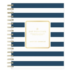 """Day Designer Frosted Daily/Monthly Planner, 8"""" x 10"""", Navy Stripe, January To December 2022, 103622"""