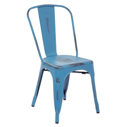 Office Star™ Bristow Armless Chair, Antique Royal Blue, Set Of 4 Chairs