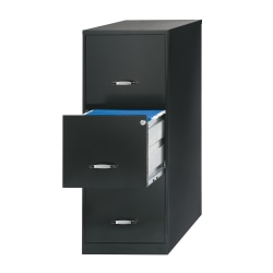 "Realspace® 18""D Vertical 3-Drawer File Cabinet, Metal, Black"