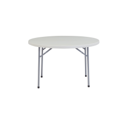 """National Public Seating Blow-Molded Folding Table, Round, 48""""W x 48""""D, Light Gray/Gray"""