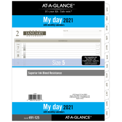 """AT-A-GLANCE® Daily Planner Refill, 8-1/2"""" x 11"""", January To December 2021, 491-125"""