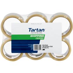 "3M™ Tartan™ 3710 General Purpose Packaging Tape, 1-7/8"" x 54.6 Yd., Clear, Pack Of 6 Rolls"