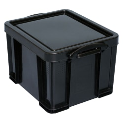 "Really Useful Box® Plastic Storage Container With Built-In Handles And Snap Lid, 32 Liters, 95% Recycled, 19"" x 14"" x 12"", Black"