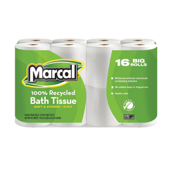 Marcal® Small Steps® 2-Ply Toilet Paper, 100% Recycled, White, 168 Sheets x 16 Rolls
