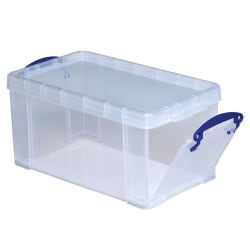 "Really Useful Box® Plastic Storage Container With Built-In Handles And Snap Lid, 8 Liters, 13 1/4"" x 7 3/4"" x 6 3/4"", Clear"