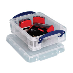 """Really Useful Box® Plastic Storage Container With Built-In Handles And Snap Lid, 1.75 Liters, 9 1/2"""" x 7"""" x 3"""", Clear"""