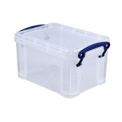 "Really Useful Box® Plastic Storage Box, 1.6 Liters, 7 1/2"" x 5 1/4"" x 4 1/4"", Clear"