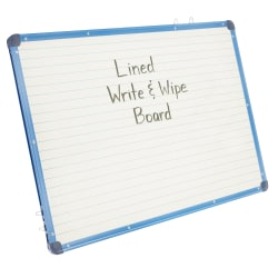 "Copernicus Magnetic Lined Unframed Dry-Erase Whiteboard, 24"" x 34"" x 3/4"", White/Blue"