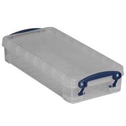 "Really Useful Box® Plastic Storage Container With Built-In Handles And Snap Lid, 0.55 Liter, 8 1/2"" x 4"" x 1 3/4"", Clear"