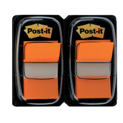 "Post-it® Flags, 1"" x 1 -11/16"", Orange, 50 Flags Per Pad, Pack Of 2 Pads"