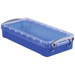 "Really Useful Box® Plastic Storage Box, 0.55 Liter, 8 1/2"" x 4"" x 1 3/4"", Blue"