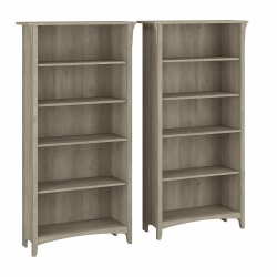 """Bush Furniture Salinas 63""""H 5-Shelf Bookcases, Driftwood Gray, Set Of 2 Bookcases, Standard Delivery"""