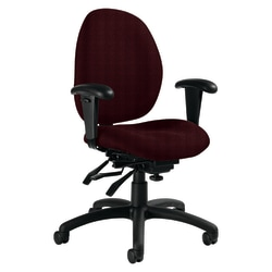 "Global® Malaga Low-Back Multi-Tilter Chair With Arms, 37""H x 26""W x 24""D, Cabernet/Black"