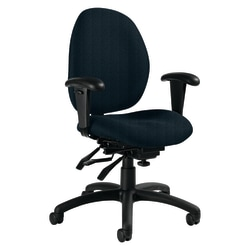 """Global® Malaga Low-Back Multi-Tilter Chair With Arms, 37""""H x 26""""W x 24""""D, Sapphire/Black"""