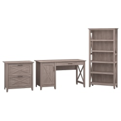 """Bush Furniture Key West 54""""W Computer Desk With Storage, 2 Drawer Lateral File Cabinet And 5 Shelf Bookcase, Washed Gray, Standard Delivery"""