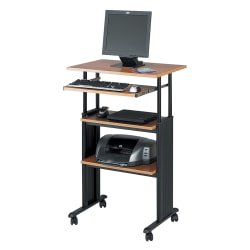 Safco Muv Stand-up Adjustable Height Desk, Cherry