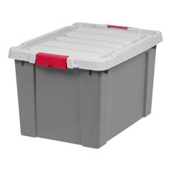 """Office Depot® Brand Plastic Storage Tote, 76 Qt, 25""""L x 17 9/16""""W x 14 1/8""""H, Gray/Red"""