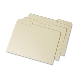 SKILCRAFT® Interior Height Top-Tab File Folders, Letter Size, 100% Recycled, Manila, Box Of 100