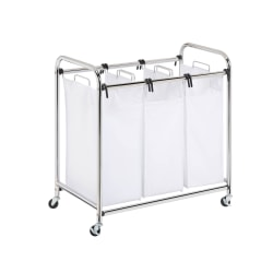 "Honey-Can-Do Heavy-Duty Triple Laundry Sorter, 32"", Chrome"