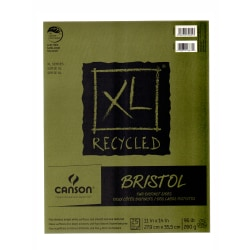 """Canson XL Recycled Bristol Pad, 11"""" x 14"""", Fold-Over, Pad Of 25 Sheets"""