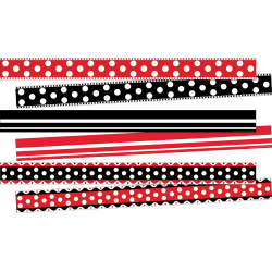 "Barker Creek Double-Sided Borders, 3"" x 35"", Stripes & Dots, 12 Strips Per Pack, Set Of 3 Packs"
