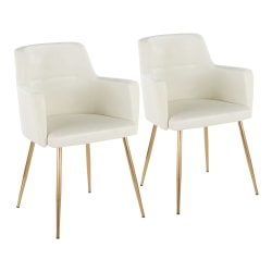 LumiSource Andrew Dining Chairs, Gold/Cream, Set Of 2 Chairs