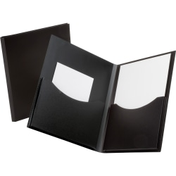 "Oxford® Double Stuff Poly Twin-Pocket Folders, 8 1/2"" x 11"", Black"
