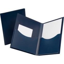"Oxford® Double Stuff Poly Folders, 8-1/2"" x 11"", 2 Pocket, Navy"