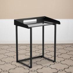 "Flash Furniture 27-1/2""W Tempered-Glass Desk, Clear/Black"