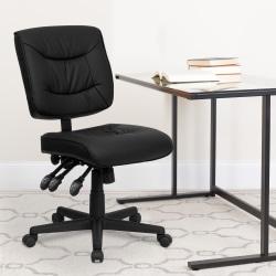 Flash Furniture Bonded LeatherSoft™ Low-Back Multifunctional Swivel Task Chair, Black