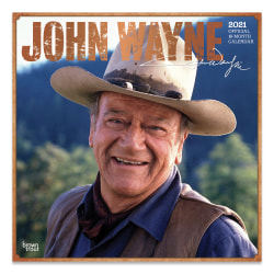 """Brown Trout Famous Figures Monthly Wall Calendar, 12"""" x 12"""", John Wayne, January To December 2021"""