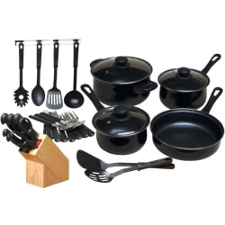 "Gibson Home Kitchen 32 Piece Chef Du Jour Cookware Set, Black - 3.3 quart Dutch Oven, 1.8 quart Saucepan, 1.3 quart Saucepan, 8.62"" Diameter Frying Pan, Fork, Knife, Teaspoon, Serving Spoon, Slotted Spoon, Spatula, Slotted Spatula"
