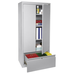 """Sandusky® Full-Height Steel Storage Cabinet With Drawer, 64""""H x 30""""W x 18""""D, Dove Gray"""