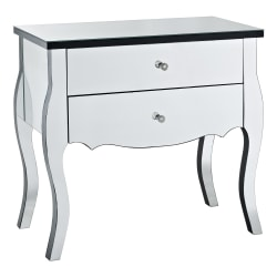 "Powell® Home Fashions Nolan 2-Drawer Mirrored Console Table, 28""H x 24""W x 14""D, Mirror"
