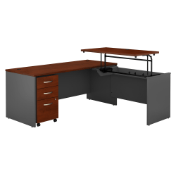 "Bush Business Furniture Components 72""W 3 Position Sit to Stand L Shaped Desk with Mobile File Cabinet, Hansen Cherry/Graphite Gray, Standard Delivery"