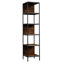 "Sauder® Nova Loft Tower 76""H 5-Shelf Display Bookcase, Grand Walnut"