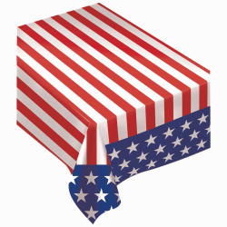 """Amscan Flannel-Backed Table Cover, 52"""" x 90"""", Patriotic Stars And Stripes"""