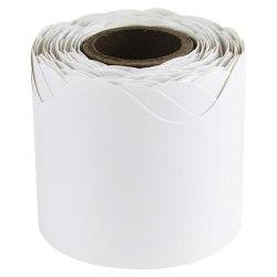 """Carson-Dellosa Plain Continuous-roll Scalloped Border - (Scalloped Border) Shape - 2.25"""" Width x 432"""" Length - White - 1 Roll"""