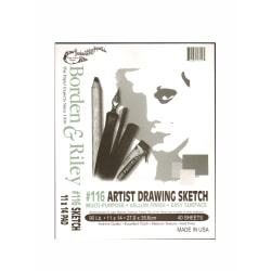 "Borden & Riley #116 Artist Drawing/Sketch Vellum Pads, 11"" x 14"", 40 Sheets Per Pad, Pack Of 2 Pads"
