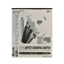 """Borden & Riley #116 Artist Drawing/Sketch Vellum Pads, 14"""" x 17"""", 40 Sheets Per Pad, Pack Of 2 Pads"""