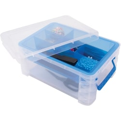 """Advantus Super Stacker Divided Supply Box - External Dimensions: 14.3"""" Length x 10.3"""" Width x 6.5"""" Height - Lid Lock Closure - Stackable - Plastic - Clear, Blue - For Pen/Pencil, Paper Clip, Rubber Band - 1 Each"""