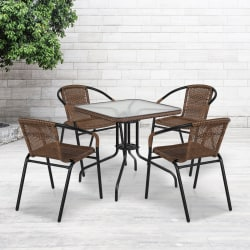 """Flash Furniture Square Glass and Metal Table with 4 Rattan Stack Chairs, 28""""H x 28""""W x 28""""D, Clear/Dark Brown"""