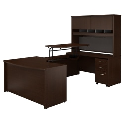 """Bush Business Furniture Components 60""""W Right Hand 3 Position Sit to Stand U Shaped Desk with Hutch and Mobile File Cabinet, Mocha Cherry, Standard Delivery"""
