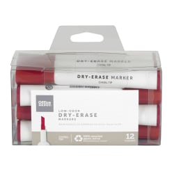 Office Depot® Brand 100% Recycled Low-Odor Dry-Erase Markers, Chisel Point, Red, Pack Of 12