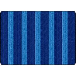Flagship Carpets Basketweave Stripes Classroom Rug, 6' x 8 3/8', Blue